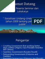 Materi Sosialisasi UU No 25 2009 Pelayanan Publik