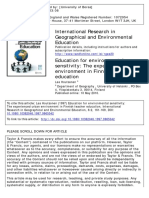 Journal-Education for Environmental Sensitivity