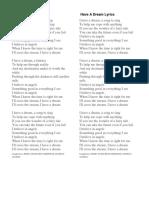Have a Dream Lyrics