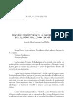 Discurso de recepción en la incorporación del académico Salomón Lerner Febres.  Ricardo Silva-Santisteban Ubillús