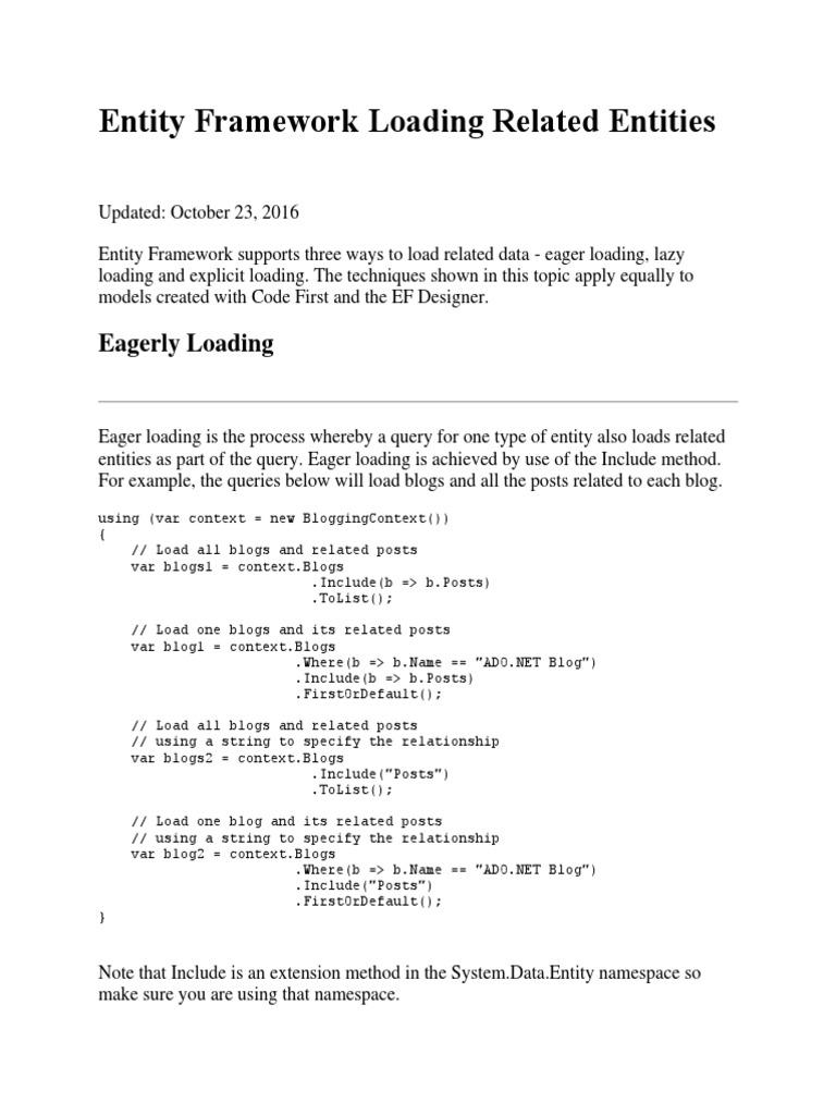 EF | Entity Framework | Information Retrieval