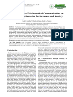 The Influence of Mathematical Communication on Student's Mathematic Performance and Anxiety
