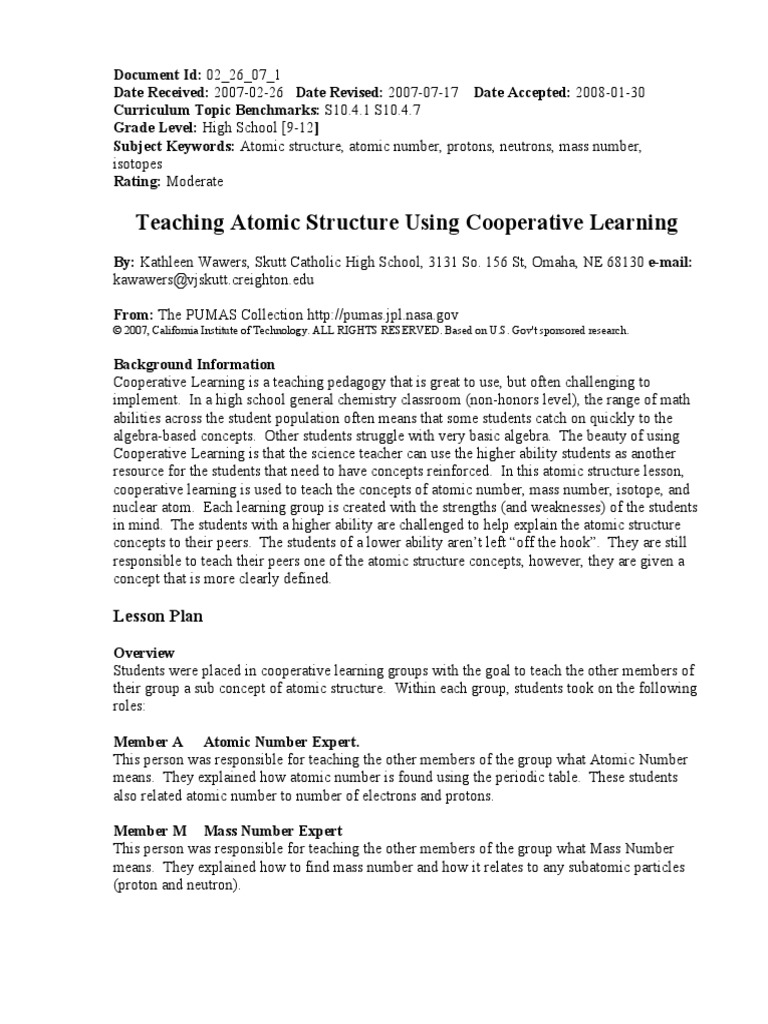 Teaching atomic structure cooperative learningpdf atoms proton urtaz Choice Image