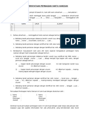 Form Surat Pembagian Warisandoc