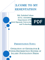 Operation of Generator & Power Distribution System of Islamic Foundation Press