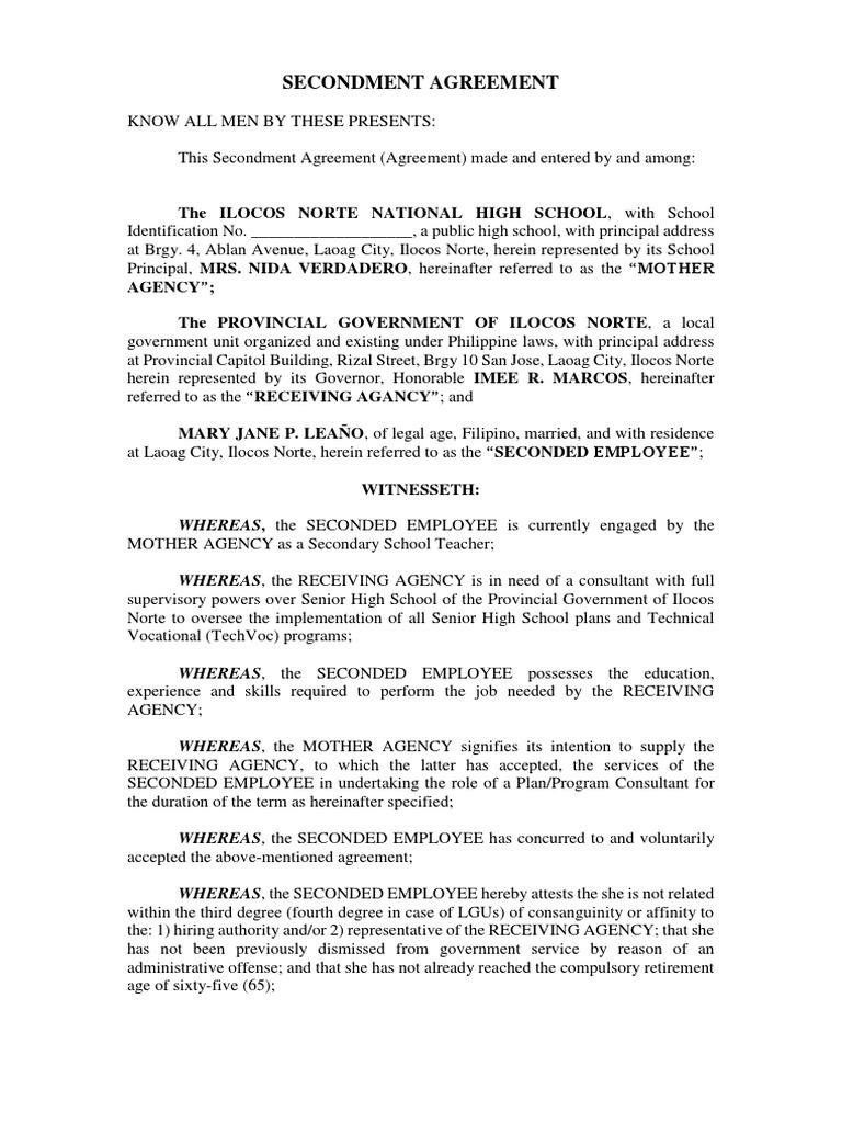 Secondment Agreement Employment Government Information