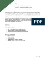 Experiment 2 - Voltage Divider Bias for BJT