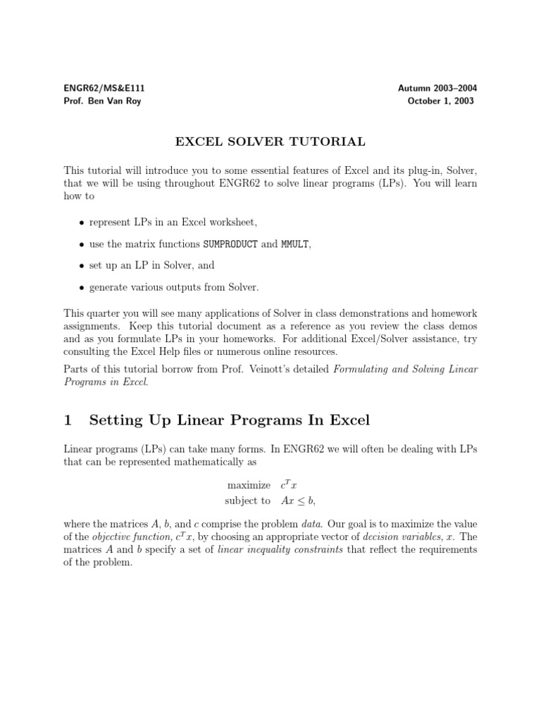 Excel Solver   Linear Programming   Matrix (Mathematics)
