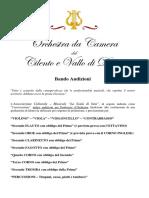 Bando Audizioni Orchestra Da Camera Del Cilento e Vallo Di Diano