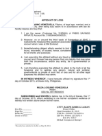 Affidavit of Loss - Nilda Venezuela