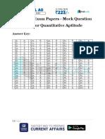 Insurance Exam Papers Model Answer Key for Quantitative Aptitude