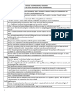 Clinical Trial Feasibility Checklist