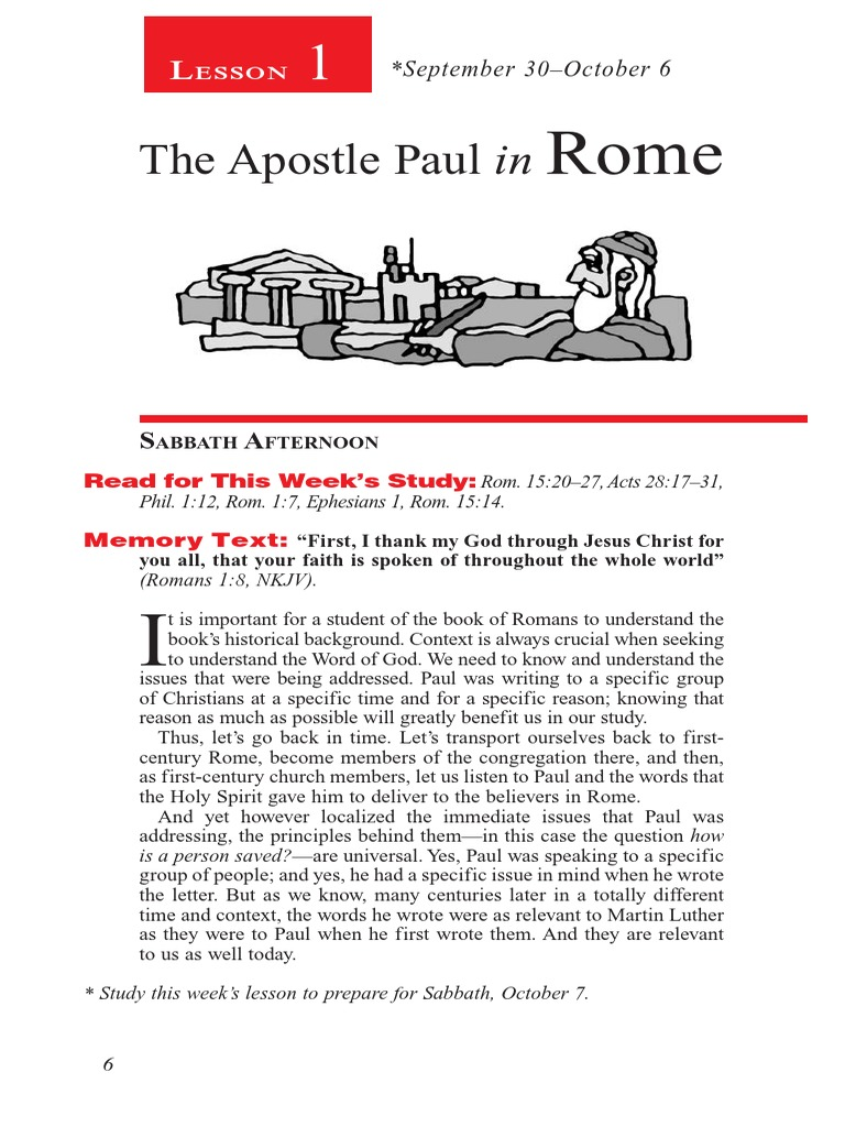 Lesson1 the Apostle Paul in Rome Stan 4qua 2017 | Epistle To