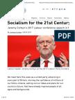 Discurso Sobre El Socialismo Corbyn