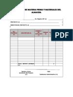 Formato de Requisición de Materiales y Materiales de Almacen.