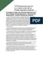 LINEAMIENTOS Generales Para La Organización y Conservación de Los Archivos Del Poder Ejecutivo Federal