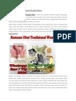Ramuan Obat Tradisional Penyakit Wasir