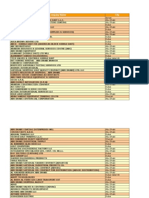 Uae-Oil-Gas-Directory xls | United Arab Emirates | Dubai