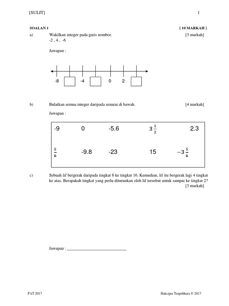 Matematik Tingkatan 1 Kssm 2017