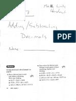 adding and subtracting decimals math links