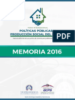 Memoria del Foro Internacional Políticas Públicas y Producción Social del Hábitat 2016