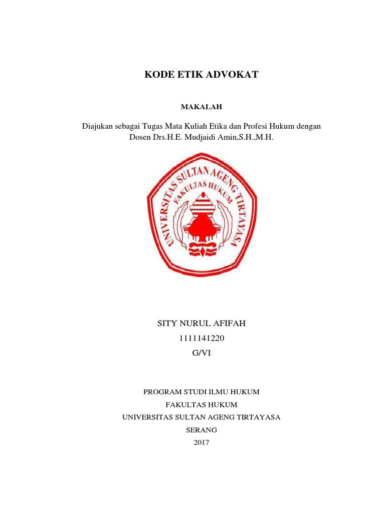 Makalah Etika Dan Profesi Etika Profesi Advokat Revisi