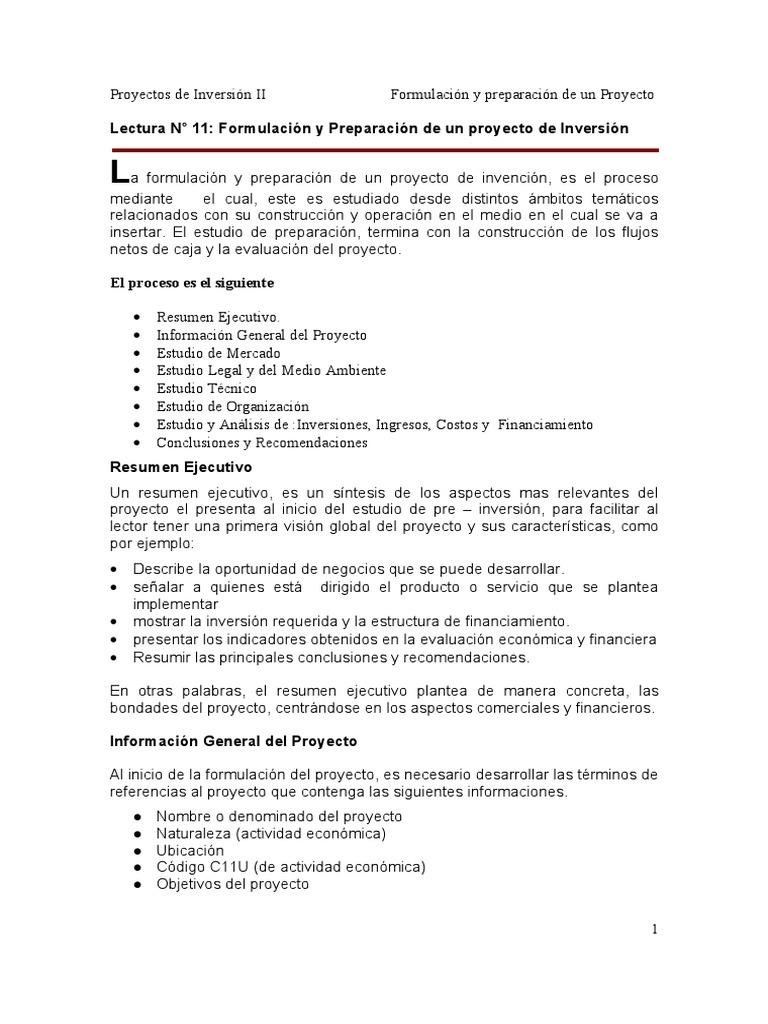 lectura n 11 formulación y preparación de un proyecto de inversión
