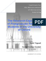 The Research Experience of Postgraduate Research Students at Oxford