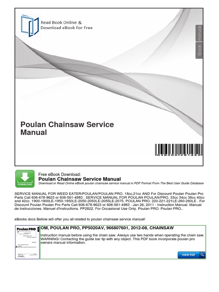 Poulan Chainsaw Service Manual | Technology | Computing And Information  Technology