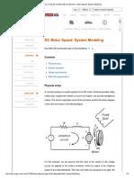 DC Motor Speed System Modeling