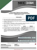 Conc Tec Adm Fev 2014 Med Assistente Em Administracao