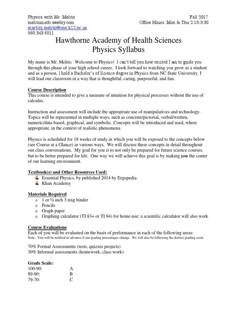 physics syllabus melito | Acceleration | Force