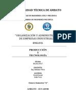 Produccion y Tecnologia Ensayo