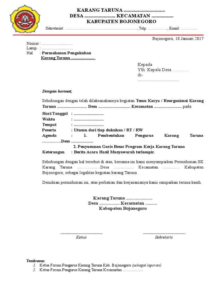 Surat Permohonan Sk Berita Acara Susunan Pengurus Garis Besar Proker