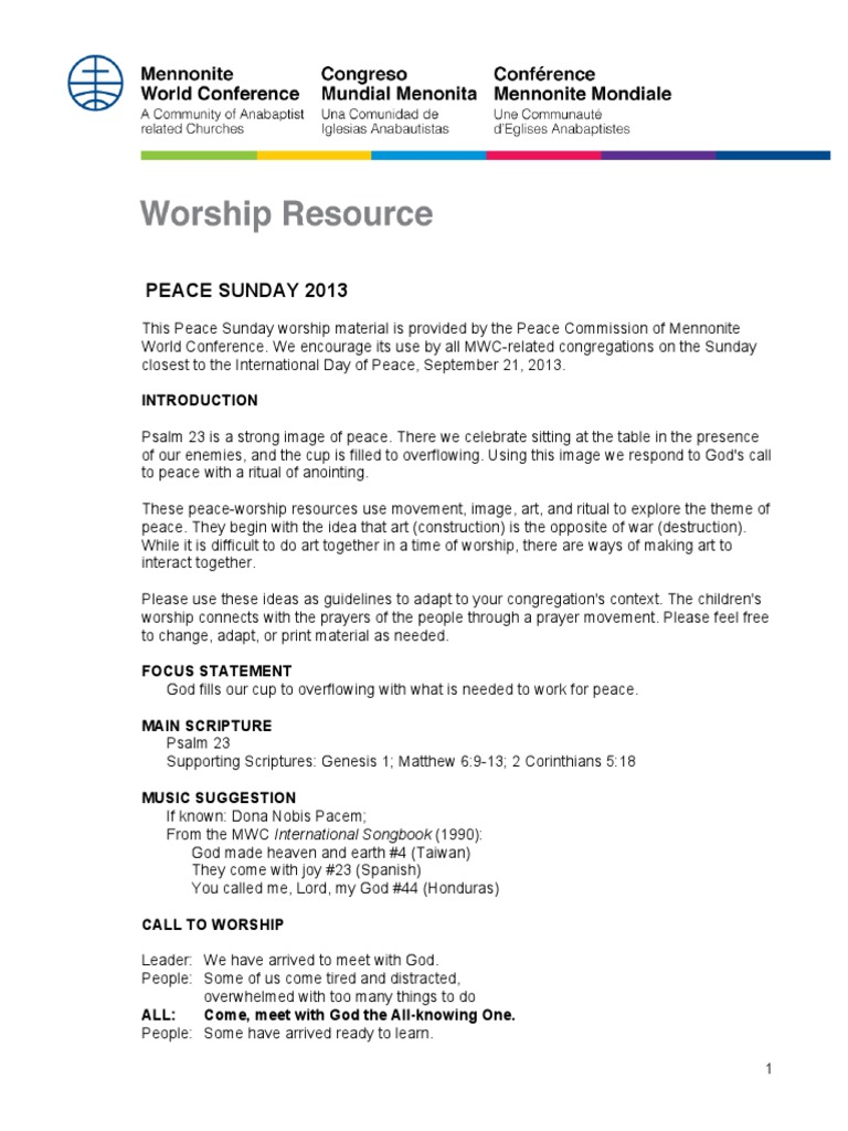 peace sunday 2013 en | confession (religion) | prayer