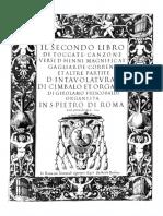 Frescobaldi - Il Secondo Libro Di Toccate -...- d Intavolatura Di Cimbalo Et Organo -BSB