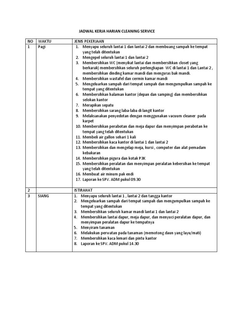 Jadwal Kerja Harian Cleaning Service