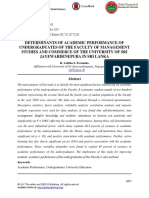 Determinants of Academic Performance of Undergraduates of the Faculty of Management Studies