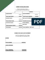 Format for Balance Sheet