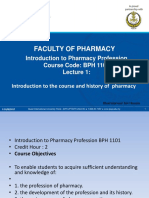 Lecture 1 Introduction to the Course and History of Pharmacy