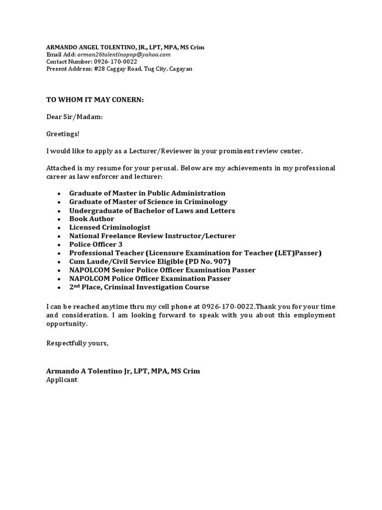 Armando Angel Tolentino Resume Licensure Academia