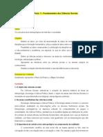 Plano de Aula 01 - Fundamentos da Ciências Sociais