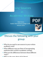 Using Sources in Academic Writing