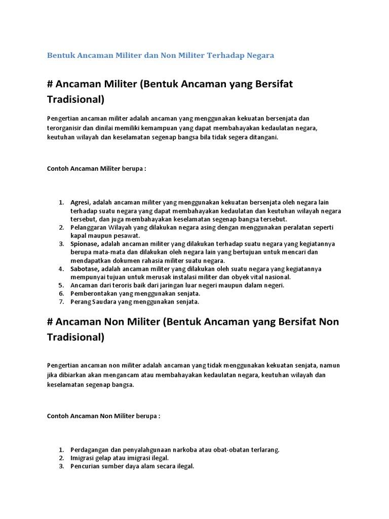 Bentuk Ancaman Militer Dan Non Militer Terhadap Negara Docx
