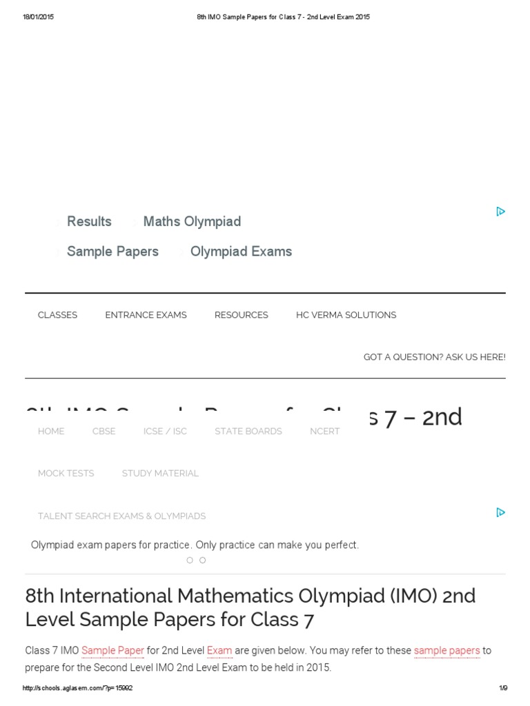8th IMO Sample Papers for Class 7 - 2nd Level Exam 2015