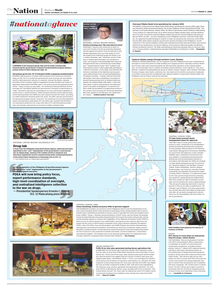Nation at a Glance -- (10/13/17)   Philippines   Economy