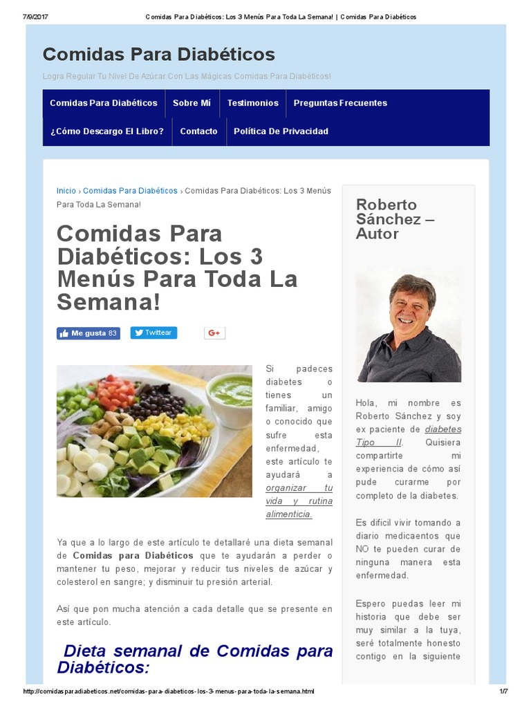 Dietas semanales para diabeticos e hipertensos