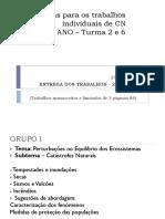 Temas Trabalhos de Grupo Cn8º 2 e 6