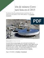 Ampliación de Minera Cerro Verde Estará Lista en El 2015