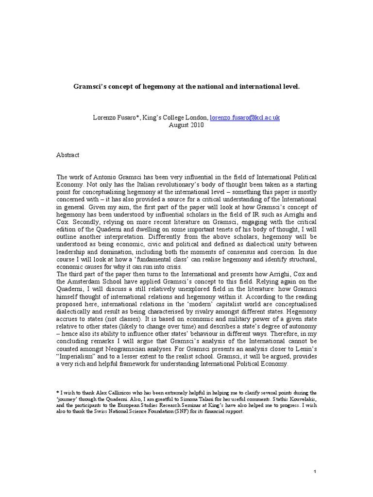 Gramsci hegemony and international relations an essay in method 1983